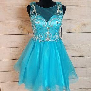 New Blue short beaded tulle prom formal dress M